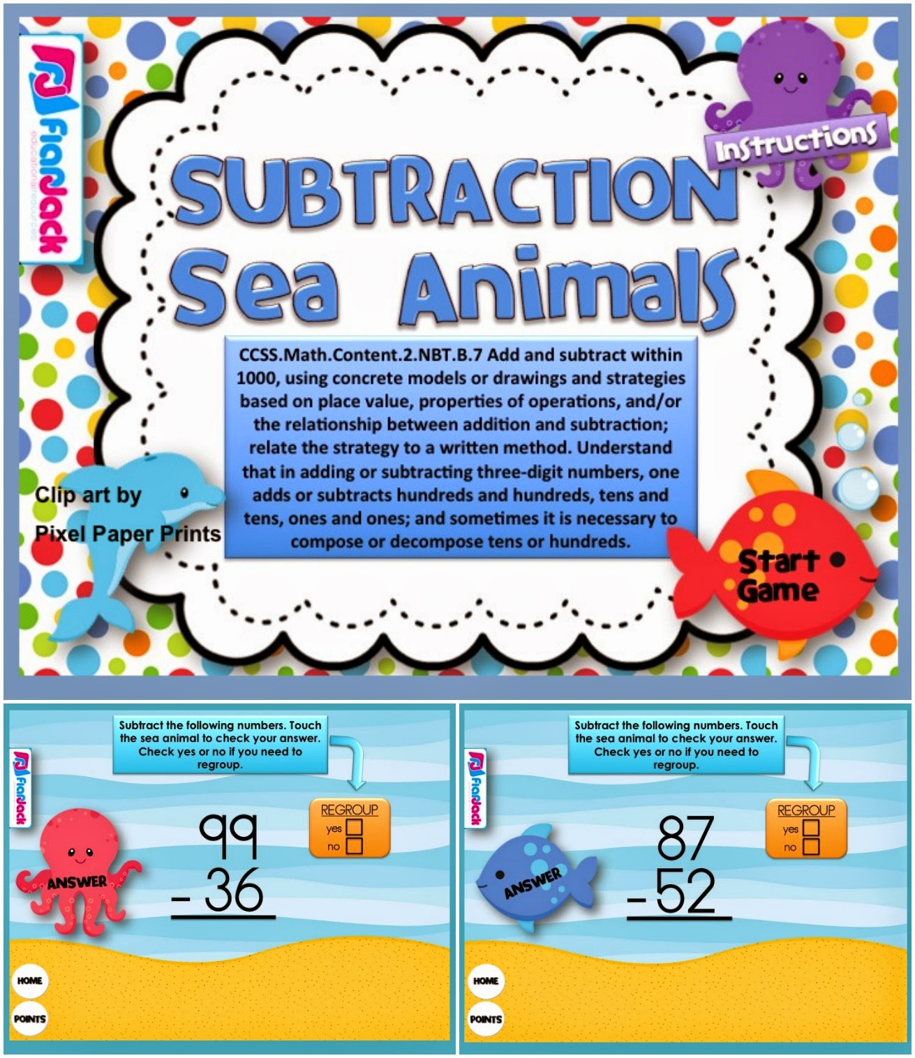 https://www.teacherspayteachers.com/Product/Subtraction-Sea-Animals-Smart-Board-Game-CCSS2NBTB7-1232923