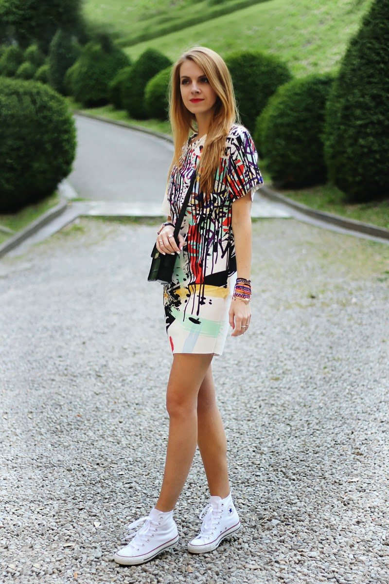 graffiti print dress, converse sneakers, Mango mini bag, spring outfit