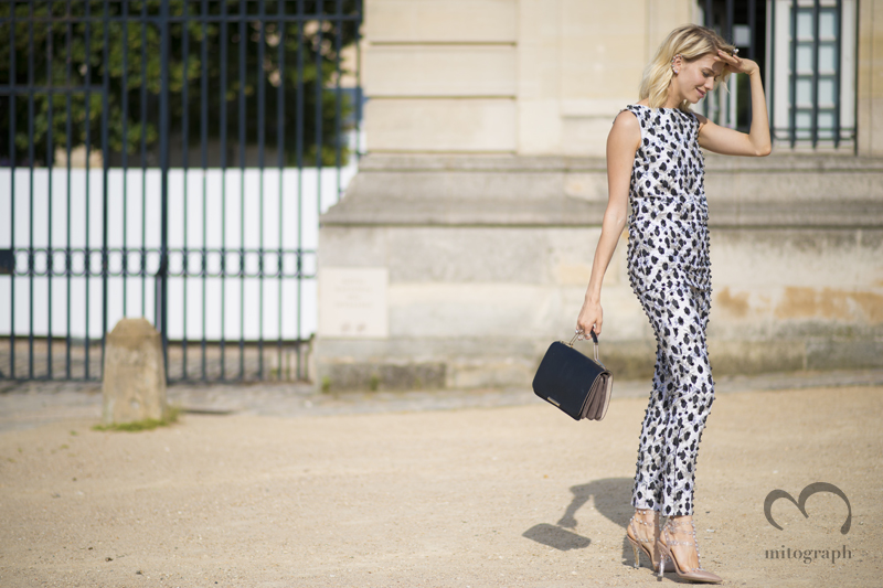 mitograph Elena Perminova wearing Giambattista Valli Repossi Emilio Pucci bag Valentino Shoes After Christian Dior Paris Haute Couture Fashion Week 2013 Fall PFW Srreet Style