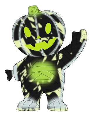 New Year's Eve Black & Glow in  the Dark Marbled Pumpkin Boy Vinyl Figure by Super7