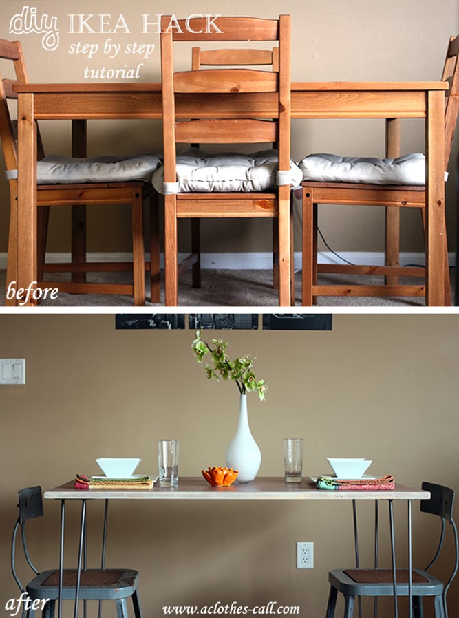 DIY IKEA HACK Mid Century Modern Dining Room Table