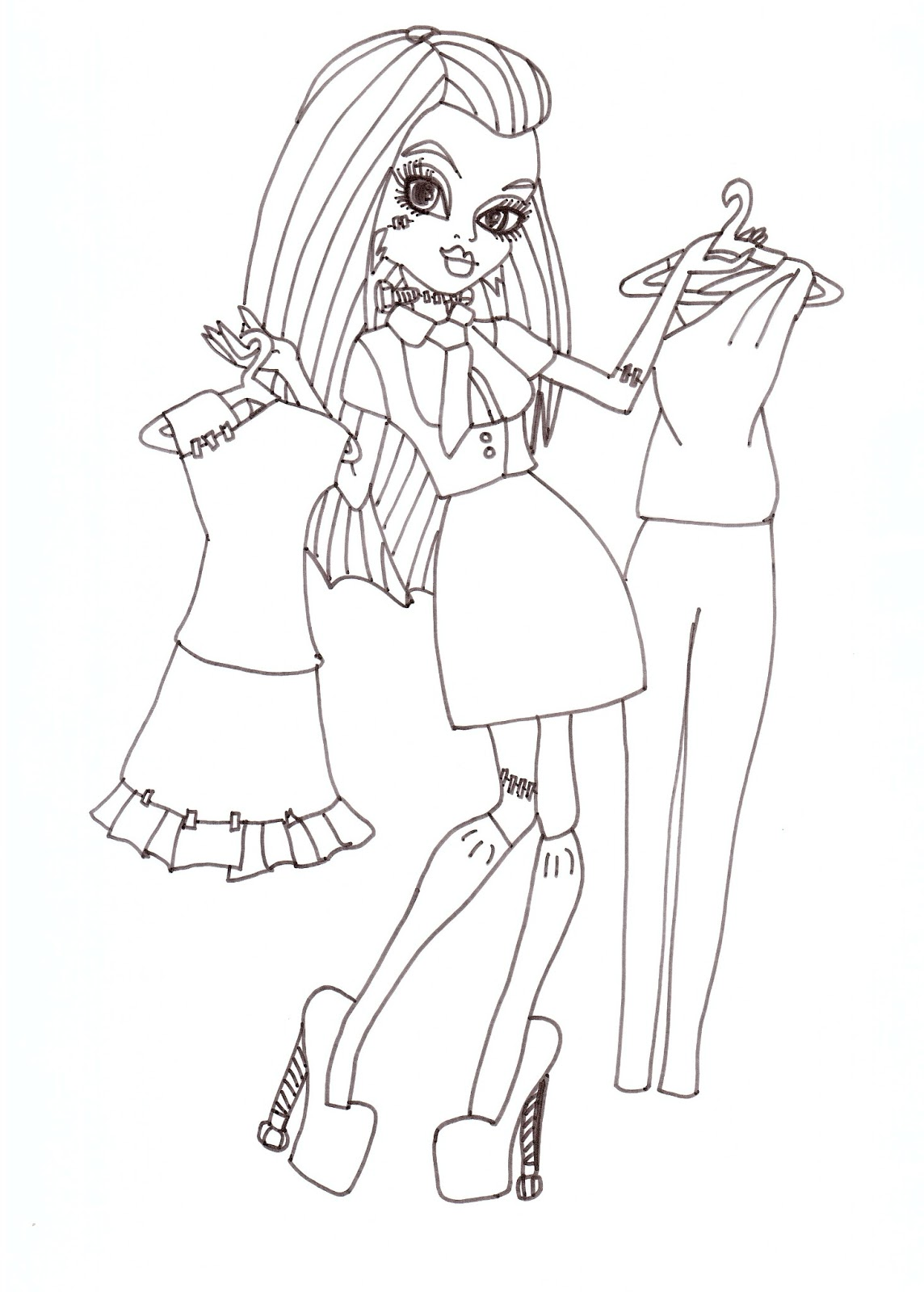 Free Printable Monster High Frankie Stein I Love Fashion Coloring Sheet