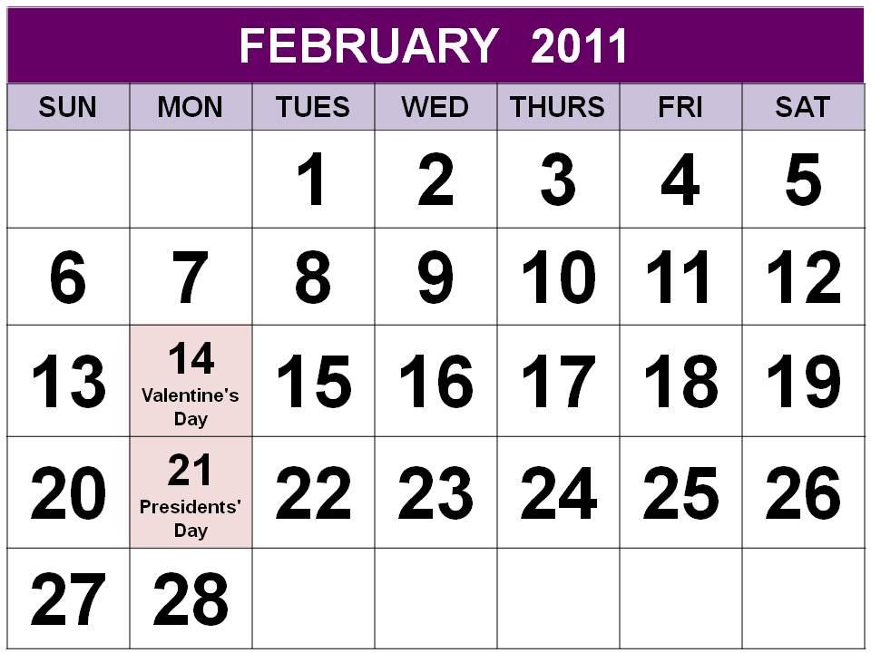 US February 2011 Calendar
