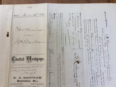 1879 Document Summers & Bartram, London Middlesex Ontario