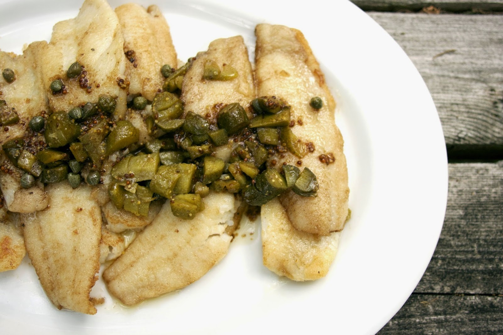 Sole with Capers, Cornichons and Brown Butter Sauce: simpelivingandeating.com