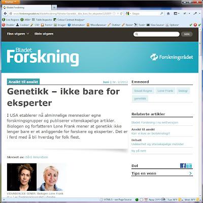 Screen shot of http://www.forskningsradet.no/bladetforskning/Nyheter/Genetikk__ikke_bare_for_eksperter/1253977784389.