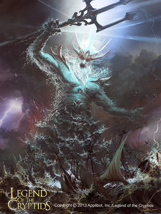 Ignacio Bazán Lazcano neisbeis deviantart ilustrações card games fantasia Poseidon