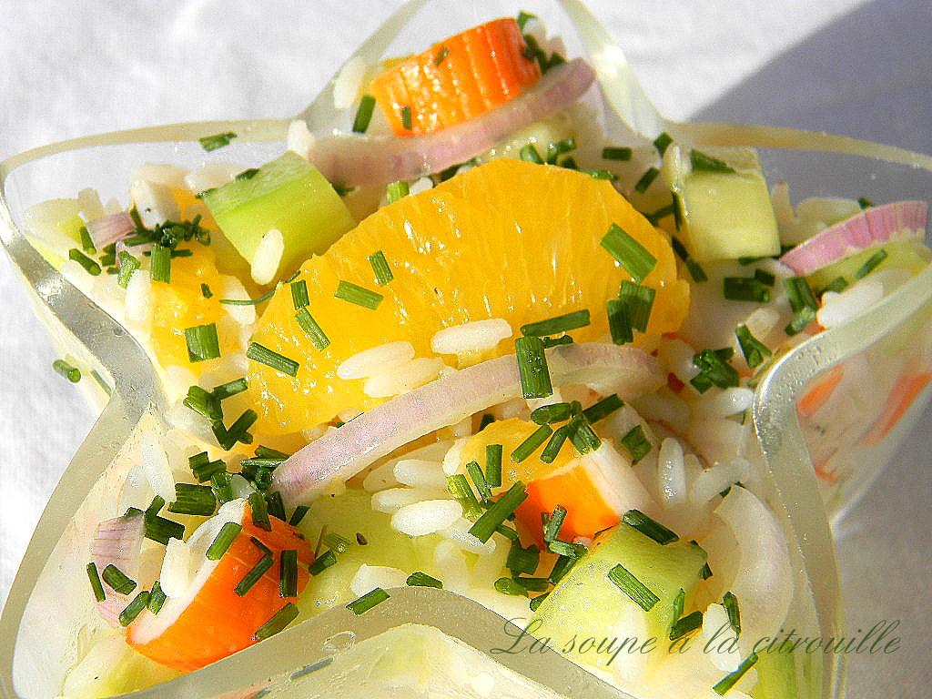 la soupe la citrouille salade de riz l 39 orange et au surimi. Black Bedroom Furniture Sets. Home Design Ideas