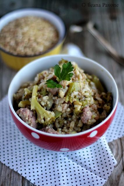 zuppa ai 5 cereali con broccoli e salsiccia