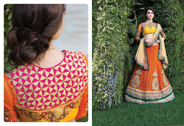 Orange Net Embroidered Lehenga With Art Silk Choli