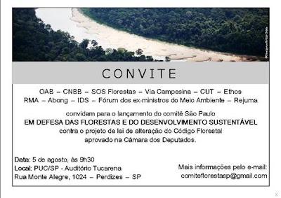 Convite para o lançamento do Comitê em Defesa das Florestas