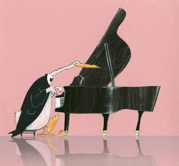 illustration by Robert wagt of a duck playing a grand piano