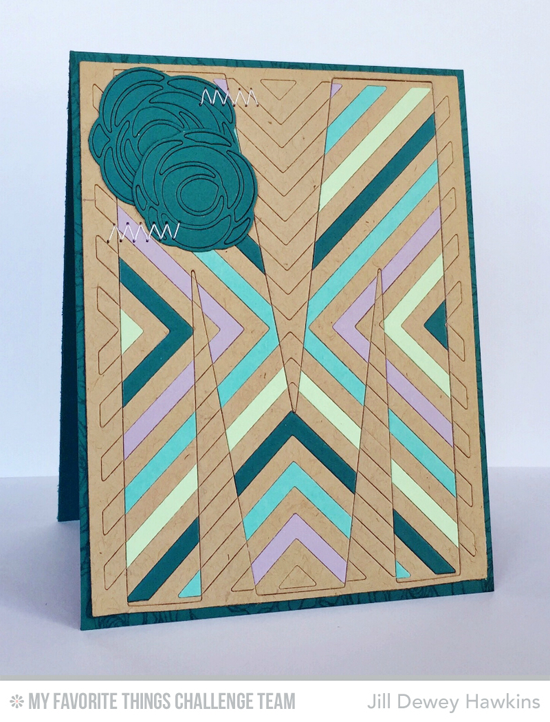 Monogram M Card by Jill Dewey Hawkins featuring the Scribble Roses Overlay, Decor & More - M, and Four Way Chevron Cover-Up Die-namics #mftstamps