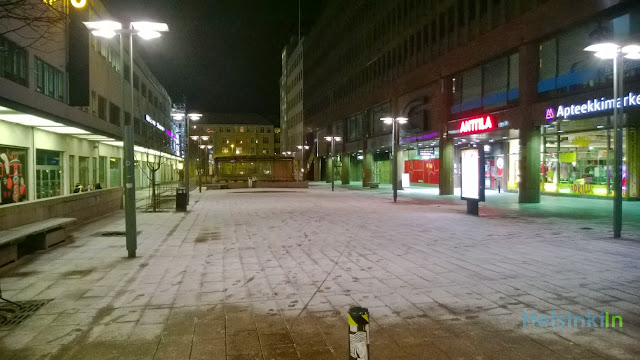 First snow in the city center of Helsinki