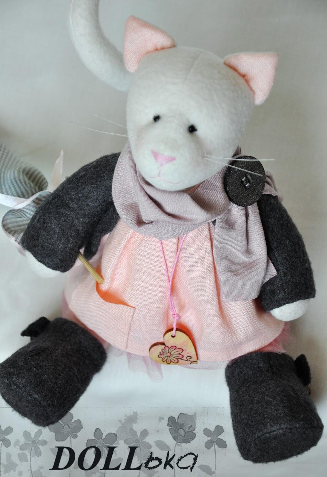 тильда кошка Кэт текстильная игрушка ручной работы