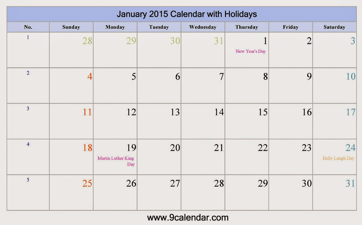 January Calendar 2015 With Holidays : January calendar of holidays search results