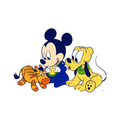 mickey mouse jugando con bebe
