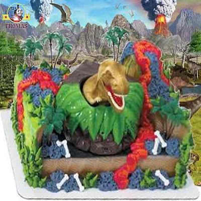 Land of the Dinosaur Cake Topper Set fun childrens toy T Rex Dinosaur attack partyware collection