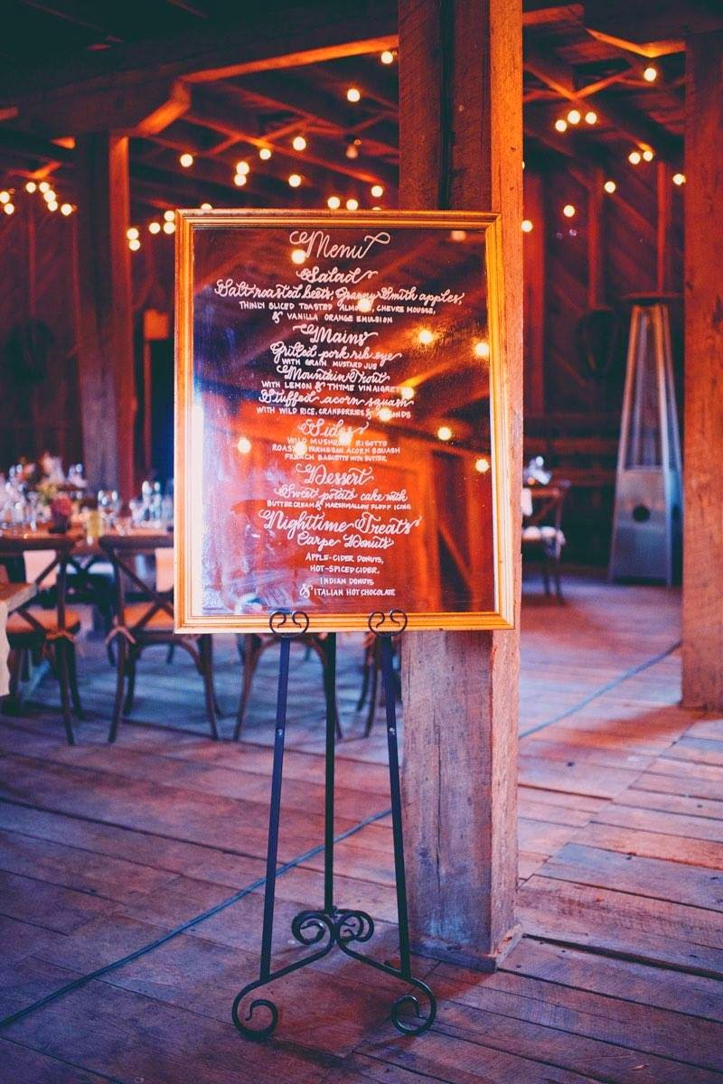 calligraphy mirror menu wedding