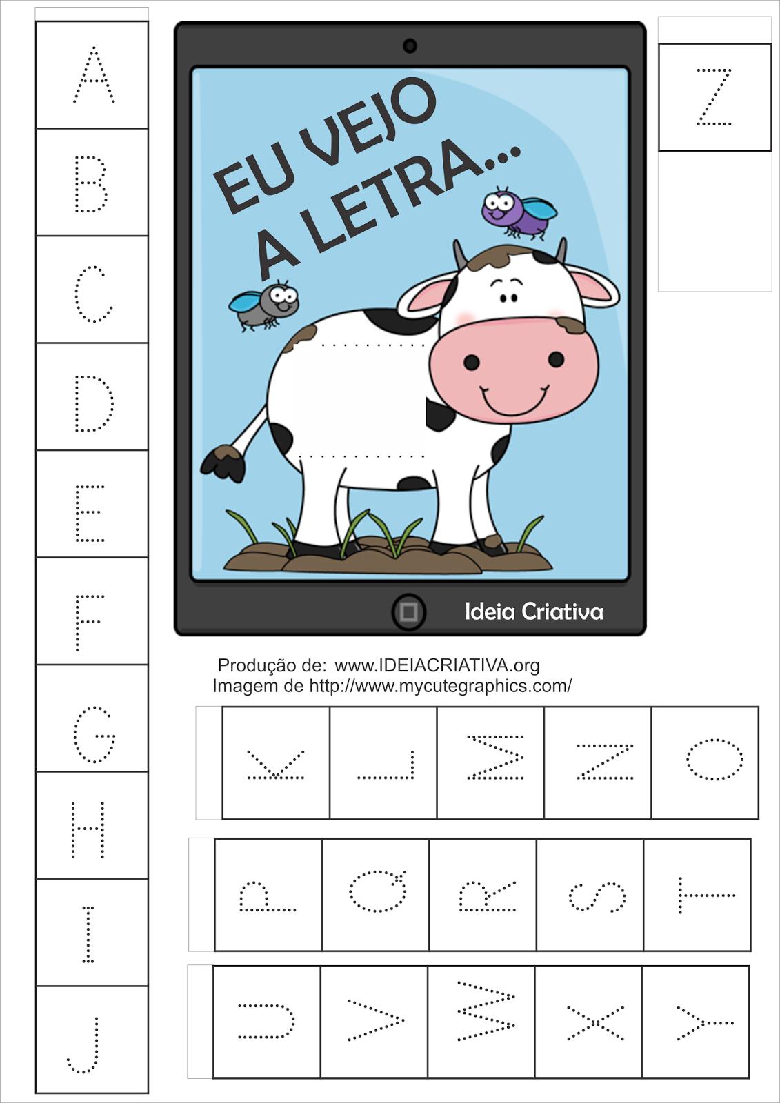 Alfabeto para Imprimir Vaquinha no Tablet