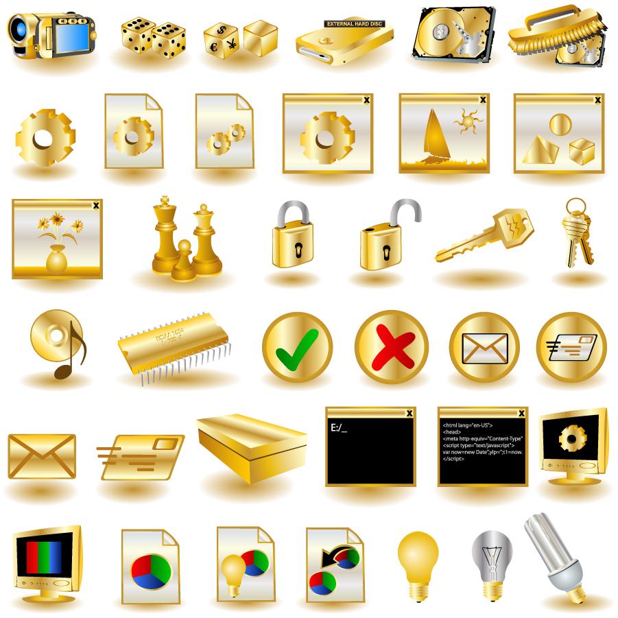 コンピューター関連の金色アイコン gold common computer icon イラスト素材