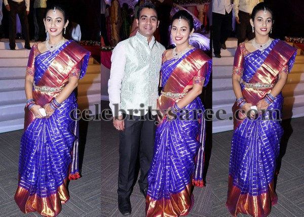 Pretty Lady in Purple Shade Blue Saree