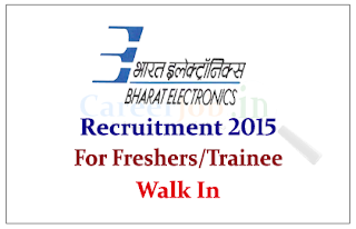 Bharat Electronics Limited Recruitment 2015 freshers for the post of Trainee