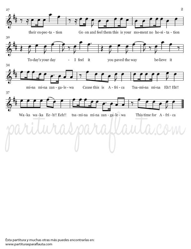 Partituras waka waka para flauta o clarinete
