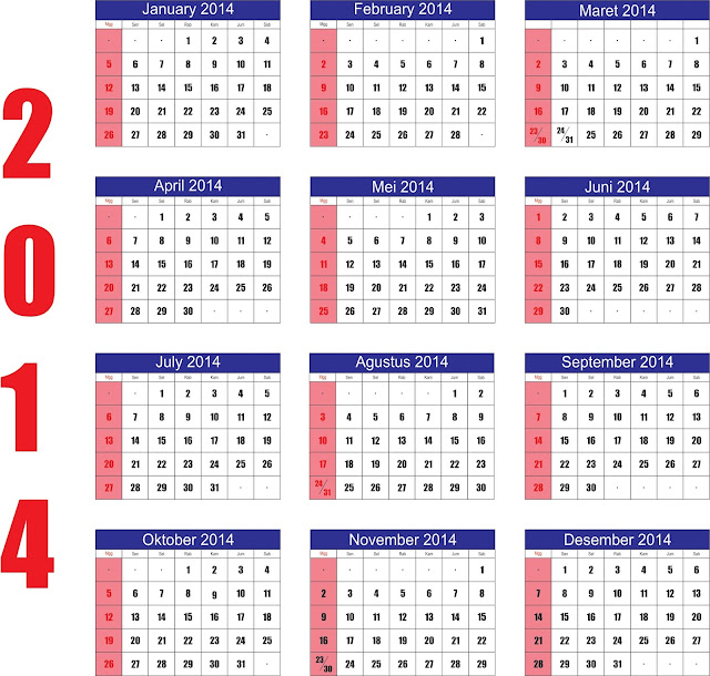 Kalender 2014 Indonesia Lengkap Hari Libur