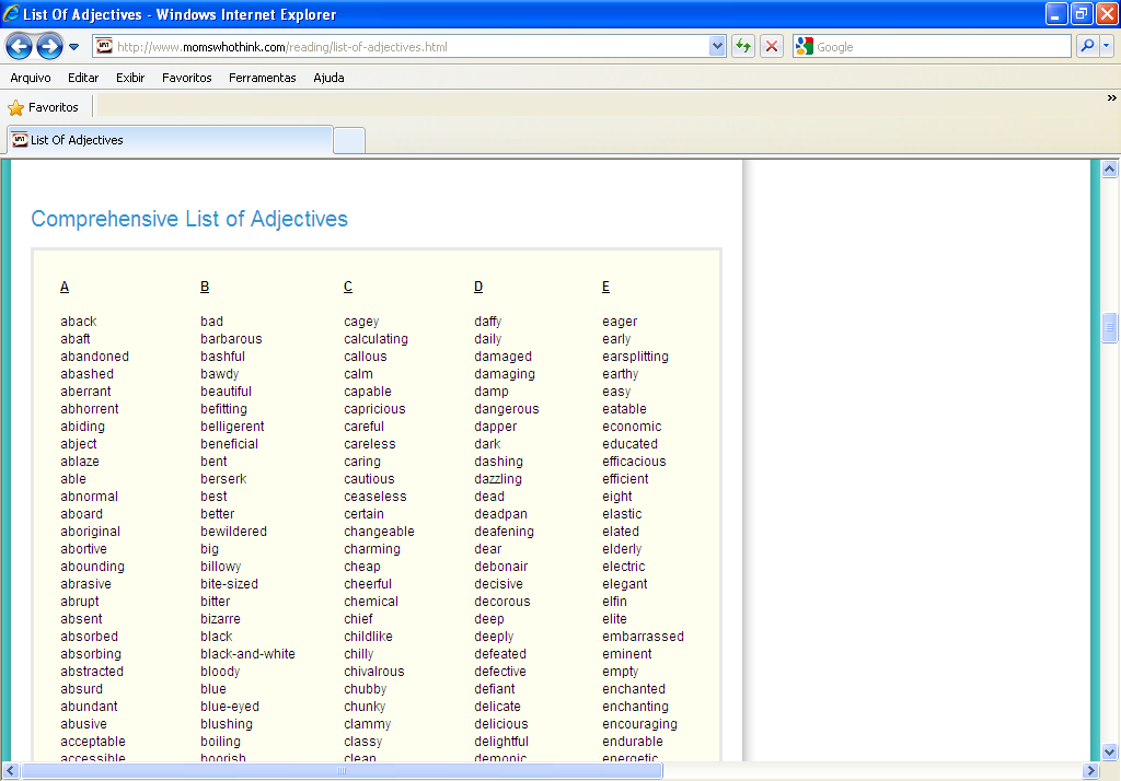 list descriptive adjectives resume course works