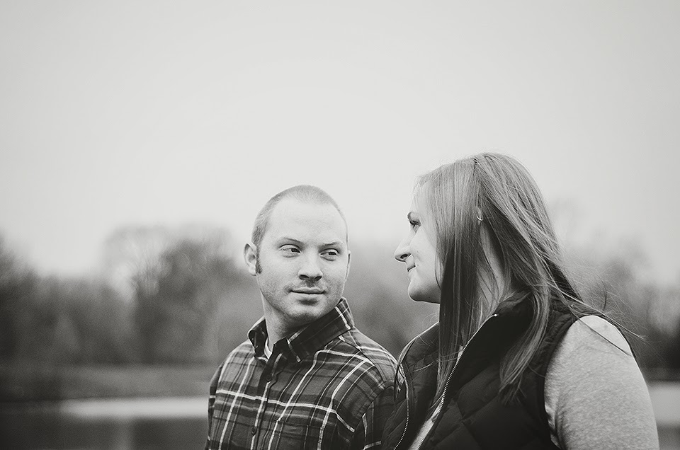 a fort wayne couple share a meaningful, loving glance at their engagment session