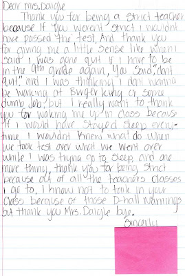 teacher appreciation letter from student
