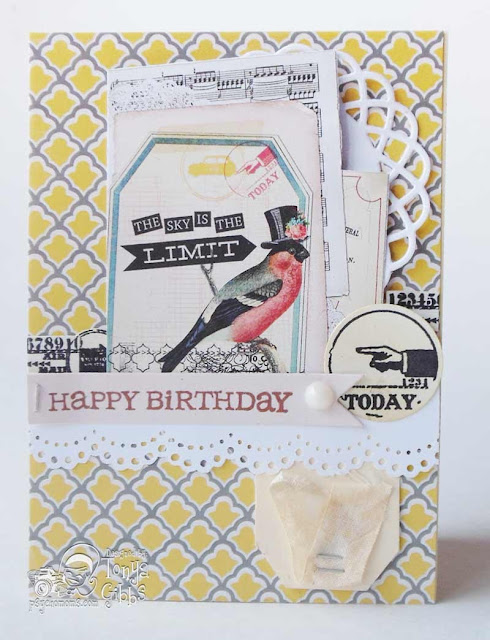 Birthday Card created by Tonya A. Gibbs using #MyMindsEye #FindYourWingsAndFly #RhonnaFarrer  #psychomomscrapbooks #TonyaGibbs #card