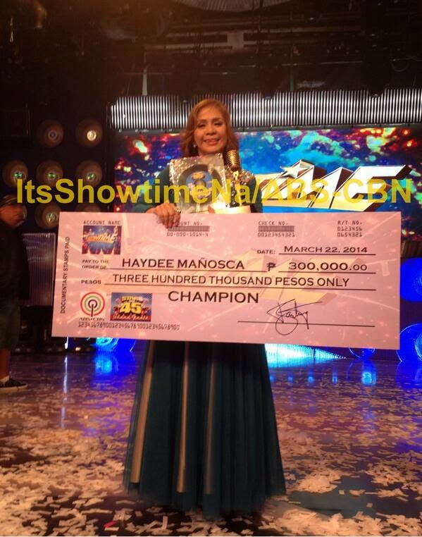 "Haydee Mañosca is It's Showtime ""Stars on 45"" Grand Winner"