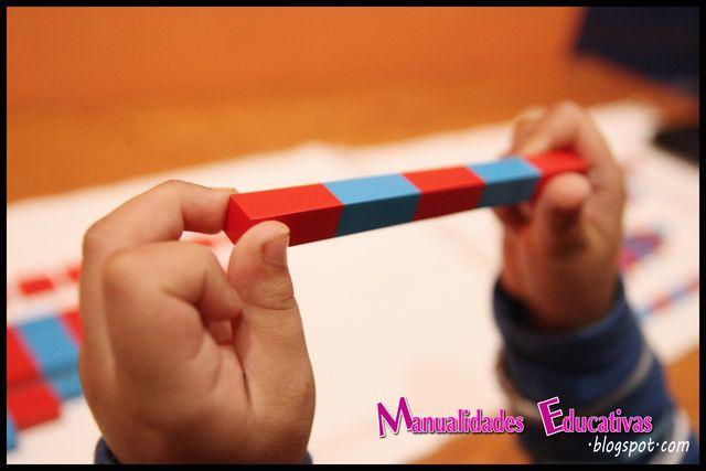 en una primera presentacin hemos hecho un primer reconocimiento sensorial de la longitud de las barras presentamos las barras ordenadas y vamos enseando
