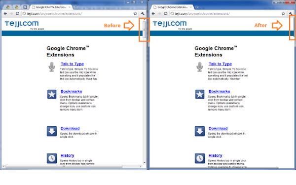 Reduce la barra de desplazamiento en Chrome