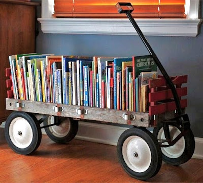wagon as bookshelf / Creative Book Storage / Pursuing Vintage