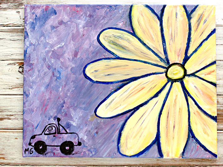 abstract wall art | Paint Nite Crazy Daisy | Date Night Fun w/ Hubby