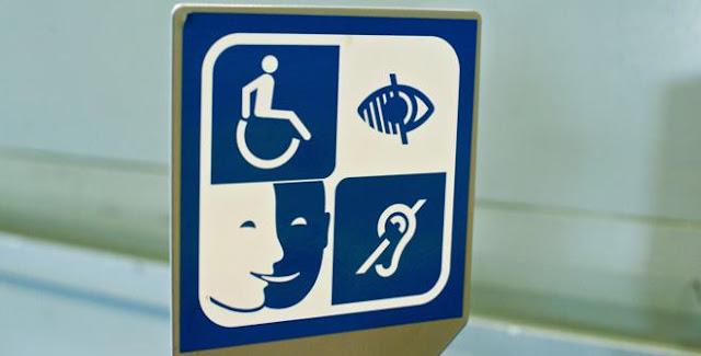 Pictograma de discapacidad visual, auditiva, física e intelectual.