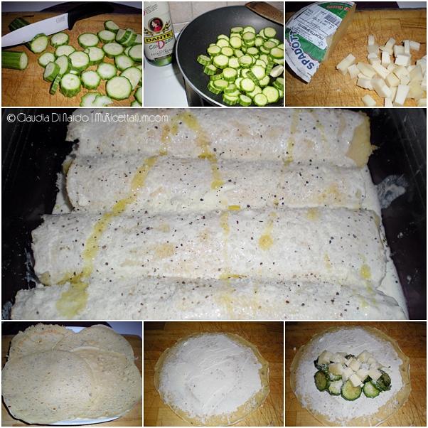 Crepes di ceci con zucchine e caciotta