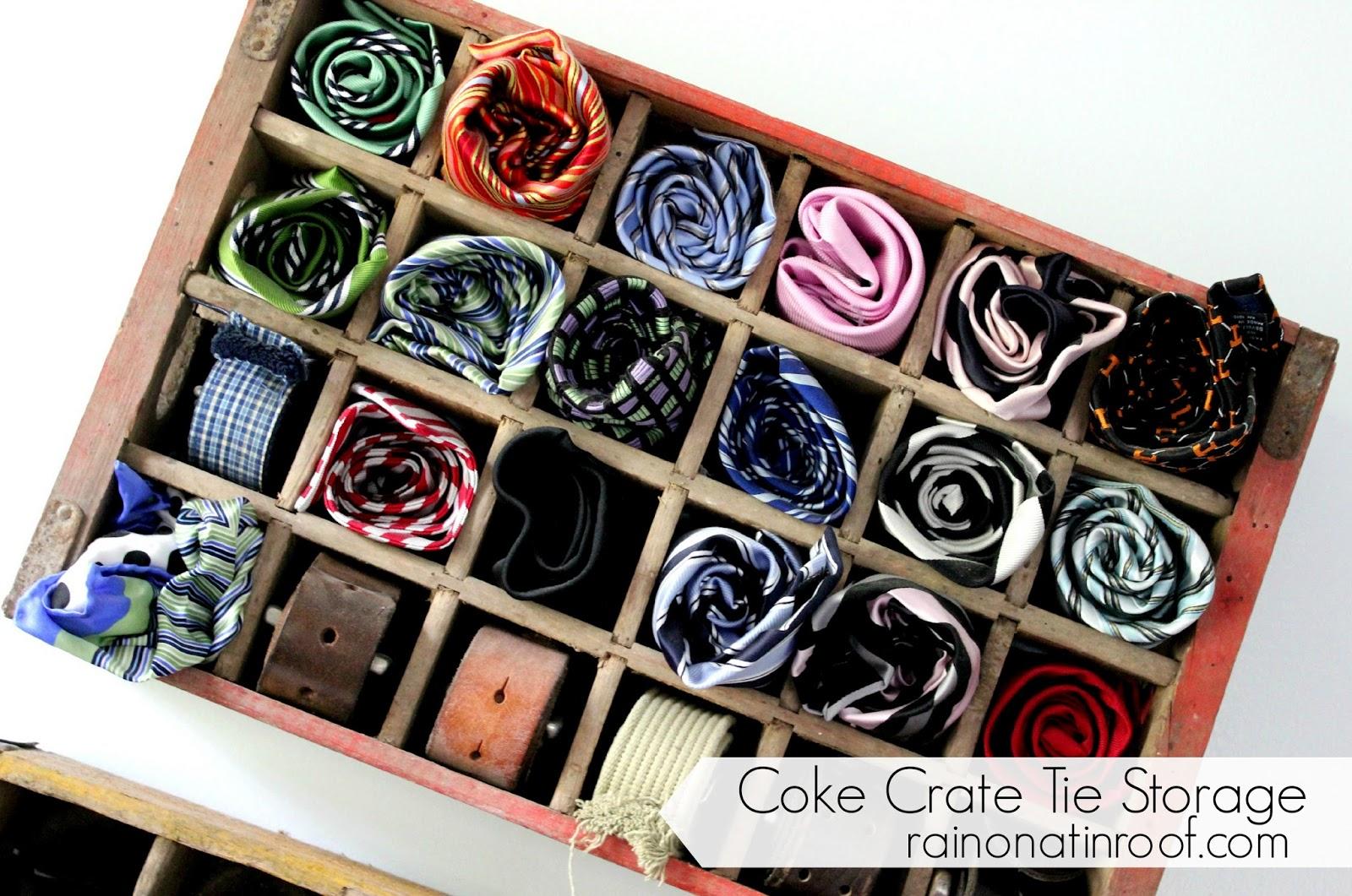 Coke Crate Tie Storage {rainonatinroof.com} #coke #crate #tie #
