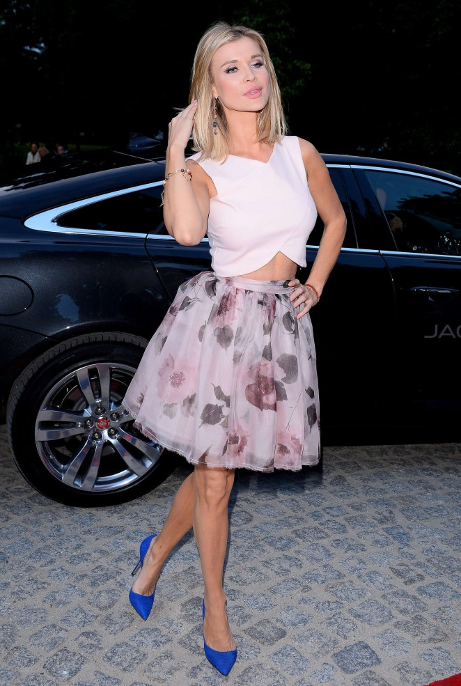 Joanna Krupa in a floral skirt and cropped top at the Raffaello Party in Warsaw