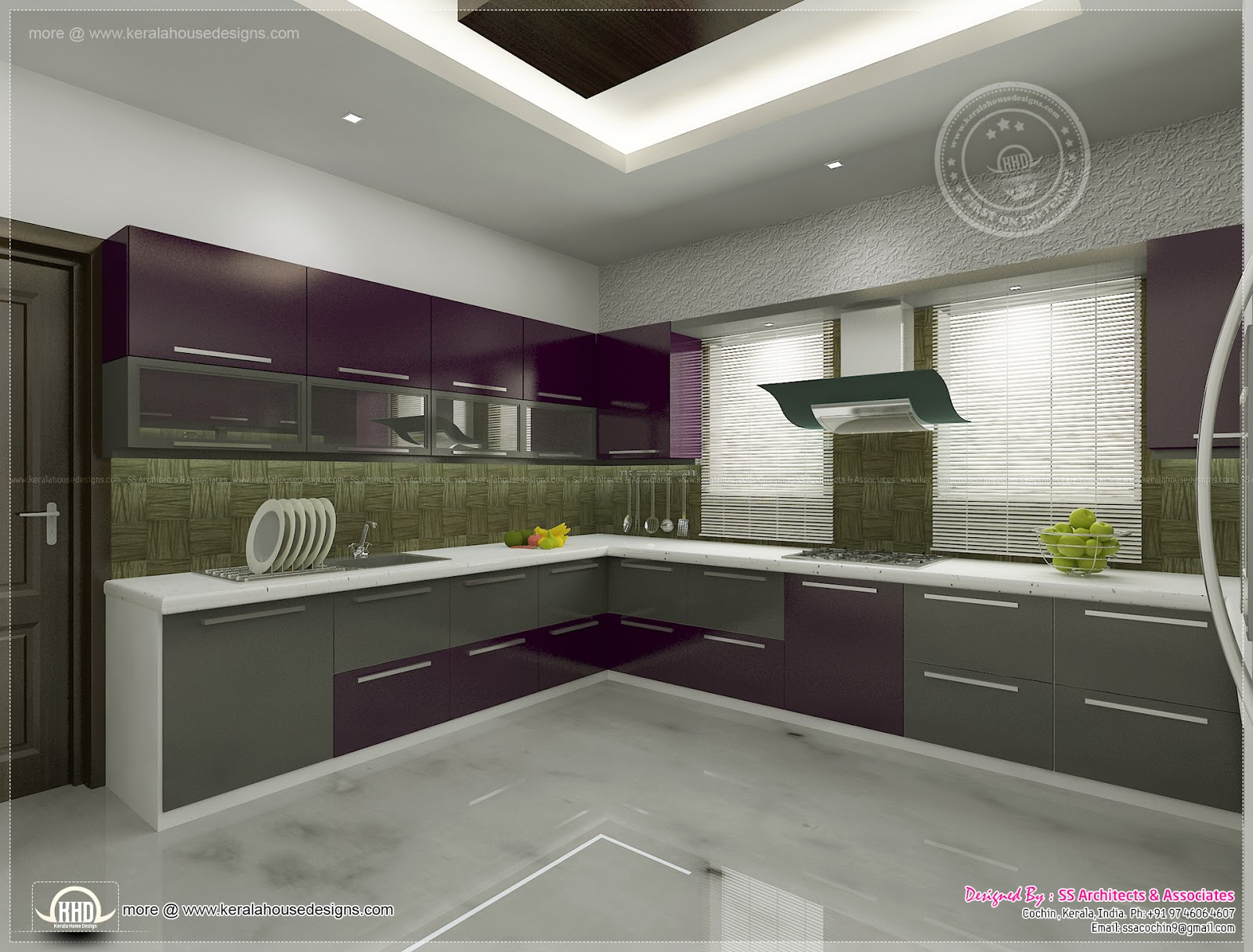 Kitchen interior views by ss architects cochin kerala Home plans with interior pictures