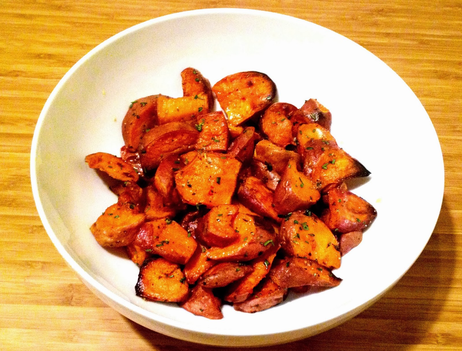 The Sensitive Epicure: Roasted Sweet Potatoes with Thyme and Rosemary