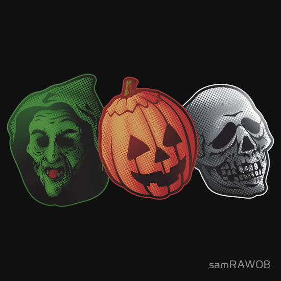 artwork featuring the 3 silver shamrock masks from halloween iii season of the witch 1982