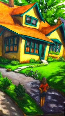 Painting of a colorful house painted Yellow and dark green trim with girl looking on