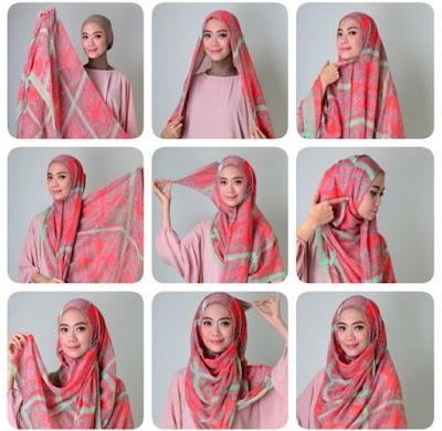 Tata-Cara-Memakai-Jilbab-Segi-Empat dengan headband