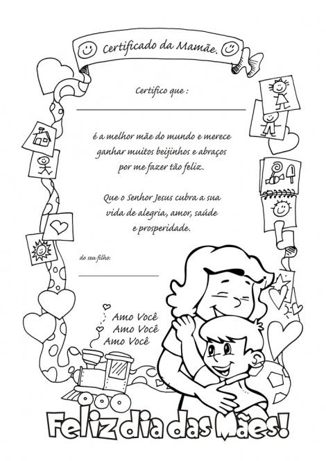 Dia Das M  Es  Desenho Para Colorir  Certificado Da Mam  E