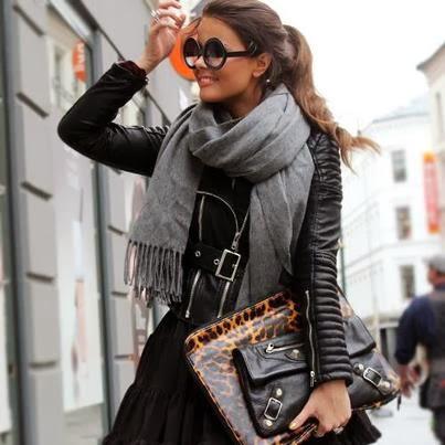 Grey scarf, black jacket, handbag and sunglasses for fall