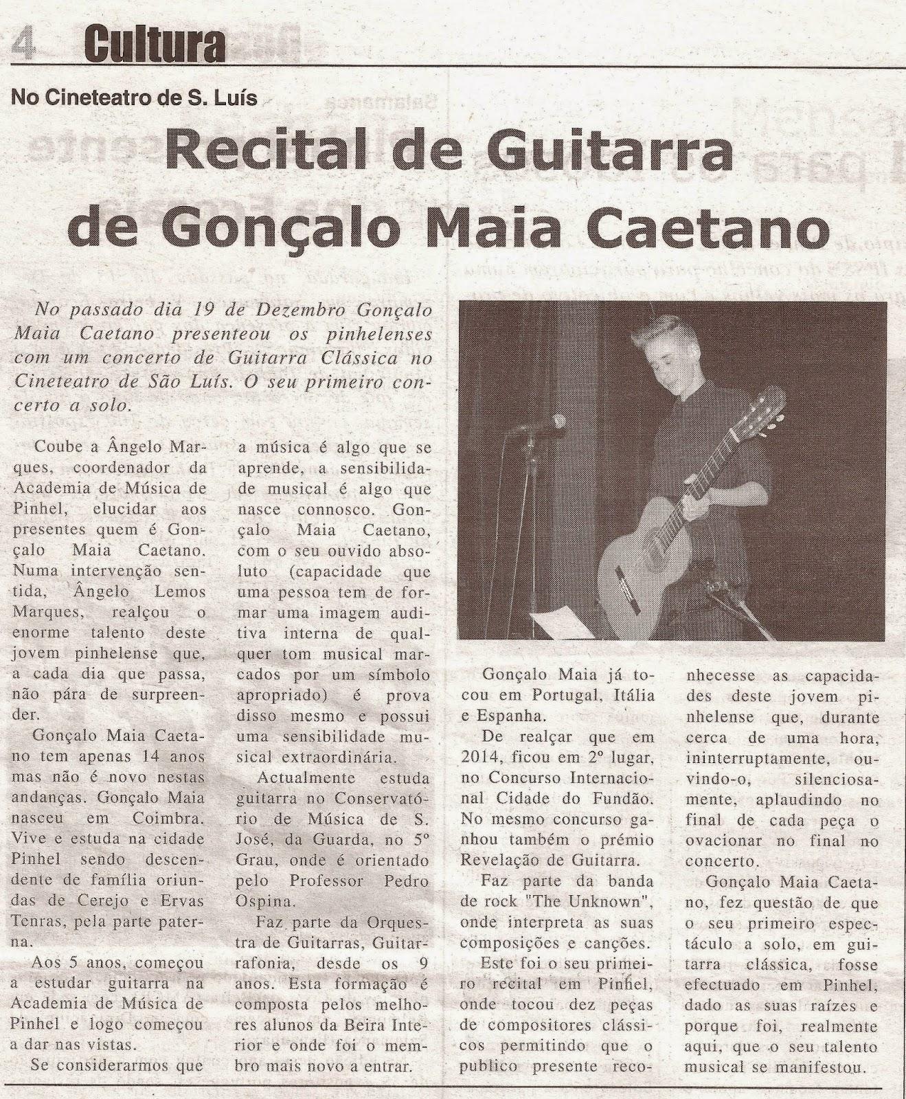 Gonçalo Maia Caetano, Música, Recital Guitarra